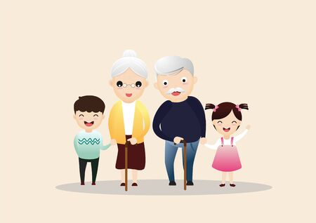 Family together. Group of people standing. Little boy, teenager girl, woman, old man, senior woman, grandfather, grandmother. Vector illustration for poster, greeting card, website, ad.