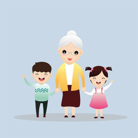 Happy family portrait. Three generations - grandparents, parents and children of different age together. Smiling cartoon characters. Vector illustration for poster, greeting card, website, ad.