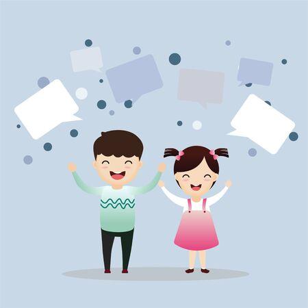 Cute kids with speech bubbles. Group of happy kids holding hands. Friendship concept. Vector Illustration Ilustração