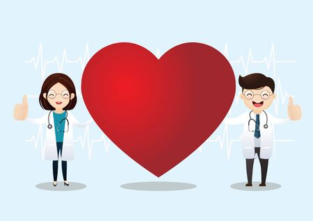 Happy doctor with good heart rate and showing thumbs up. Vector illustration. Illustration