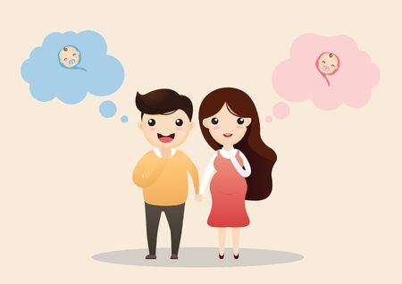 Cheerful pregnant couple. Beautiful young couple expecting baby with speech bubbles. vector, illustration.