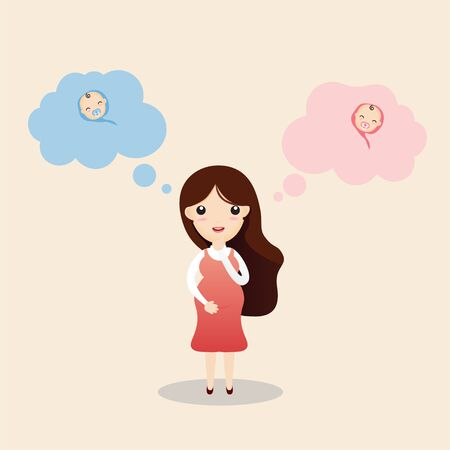 Cute young pregnant woman wondering about her future baby gender. It's a boy or girl quiz. Expecting woman standing and thinking, newborn boy and girl in thought bubbles.