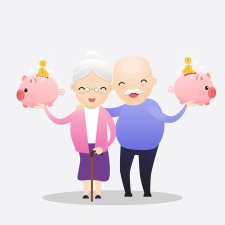 Senior showing thumbs up like. Happy old pensioner character design. Vector, illustration