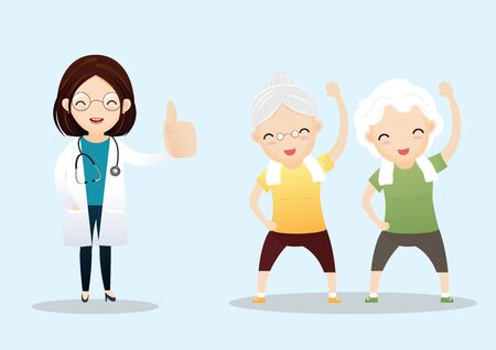 Senior showing thumbs up like. Happy old pensioner character design. Group of senior friends.Vector, illustration Ilustrace