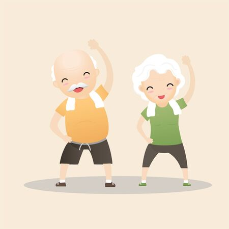 Elderly people exercising. Active healthy workout aged people. Grandparents making morning exercises. Cartoon illustration isolated on background. Vector, illustration Stock Illustratie