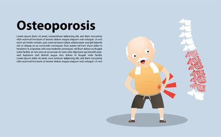 Old man with osteoporosis. Elderly people exercising. Active healthy workout aged people. vector,  illustration.