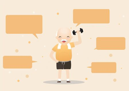 Elderly people exercising.Elderly doing exercising with speech bubbles. Active healthy workout aged people. Grandparents making morning exercises. Cartoon illustration isolated on background. Vector, illustration