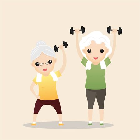 Elderly people exercising. Active healthy workout aged people. Grandparents making morning exercises. Cartoon illustration isolated on background. Vector, illustration Vettoriali