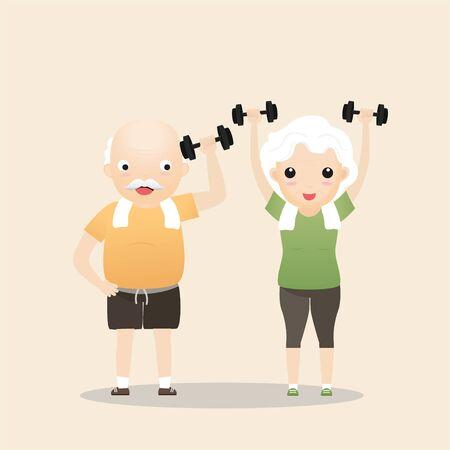Elderly people exercising. Active healthy workout aged people. Grandparents making morning exercises. Cartoon illustration isolated on background. Vector, illustration Ilustração
