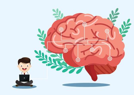 A team of doctors is diagnosing the brain.  Mental health concept. Solving mental problems. Psychotherapy and help. Flat vector illustration. Banco de Imagens - 130053741