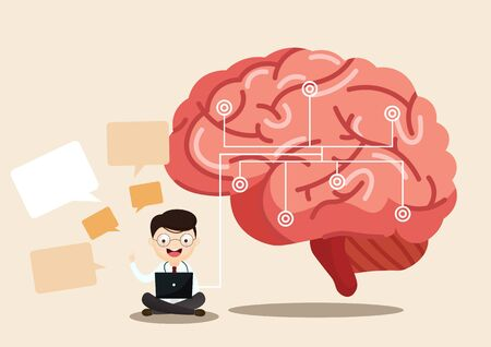 A team of doctors is diagnosing the brain.  Mental health concept. Solving mental problems. Psychotherapy and help. Flat vector illustration. Banco de Imagens - 130053742