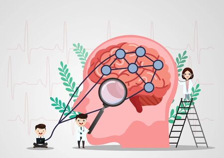 A team of doctors is diagnosing the brain.  Mental health concept. Solving mental problems. Psychotherapy and help. Flat vector illustration. Banco de Imagens - 130053753