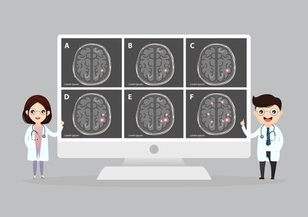 A team of doctors is diagnosing the brain.  Mental health concept. Solving mental problems. Psychotherapy and help. Flat vector illustration. Banco de Imagens - 130053801
