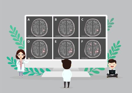 A team of doctors is diagnosing the brain.  Mental health concept. Solving mental problems. Psychotherapy and help. Flat vector illustration.