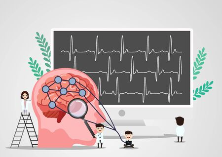 A team of doctors is diagnosing the brain.  Mental health concept. Solving mental problems. Psychotherapy and help. Flat vector illustration. Banco de Imagens - 130053852
