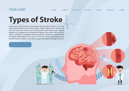 Teamwork of doctors is diagnosing the brain.  Mental health concept. Solving mental problems. Psychotherapy and help. Flat vector illustration. Ilustração
