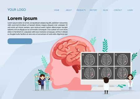 Teamwork of doctors is diagnosing the brain.  Mental health concept. Solving mental problems. Psychotherapy and help. Flat vector illustration. Banco de Imagens - 130053479