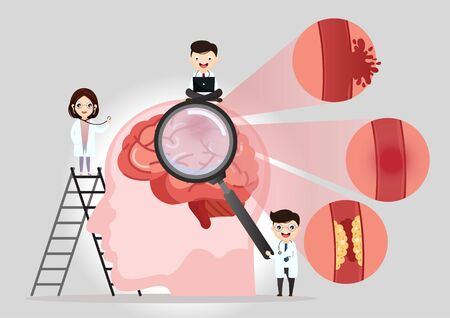 Teamwork of doctors is diagnosing the brain. Mental health concept. Solving mental problems. Psychotherapy and help. Flat vector illustration.