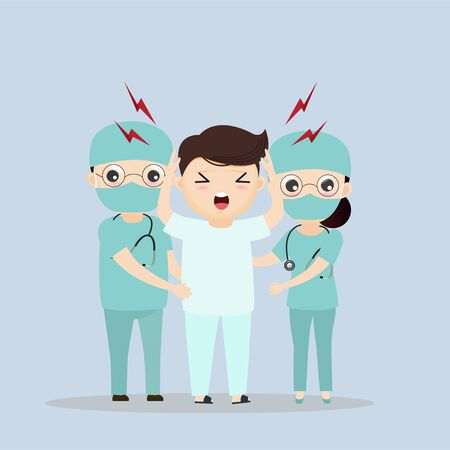 The doctor is looking after patients with severe headaches. vector, illustration