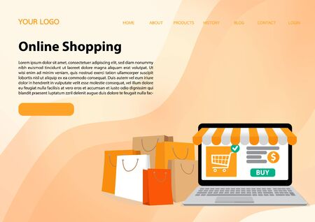 Flat outline design, Online shopping, Online payment, Buying online - vector banner with icons