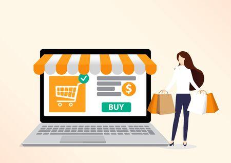 Caractère de femme souriante avec des sacs à provisions. Client heureux. Concept d'achat en ligne. Grande vente. Illustration vectorielle plane.