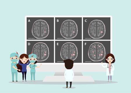 Teamwork of doctors is diagnosing the brain.  Mental health concept. Solving mental problems. Psychotherapy and help. Flat vector illustration. Banco de Imagens - 130053660