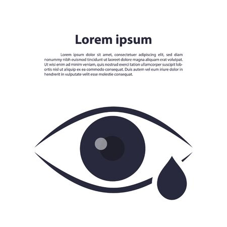Eye drop line icon. Eye Care vector logo design. Eye with tear vector illustration. Eye with drop outline style design, designed for web and app. vector, illustration Illustration