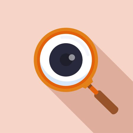 Magnifier with eye outline icon. Find icon, investigate concept symbol. Eye with magnifying glass. Appearance, aspect, look, view. vector, illustrator