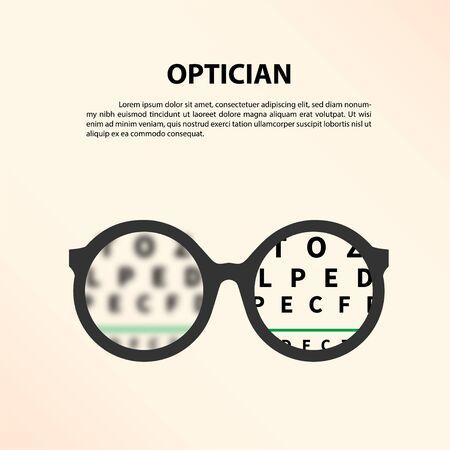 Okulary z wykresem oka. Optyk, wizja wzroku ilustracji wektorowych
