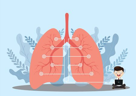 Lung organ anatomy symbol for health and medical illustrations. Flat tiny lungs healthcare persons concept. Respiratory system examination and treatment.vector, illustration. Ilustração