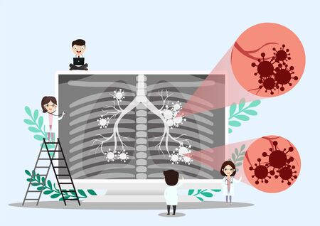 Pulmonology vector illustration. Flat tiny lungs healthcare persons concept. Respiratory system examination and treatment. Internal organ inspection check for illness, disease or problems.vector, illustration.