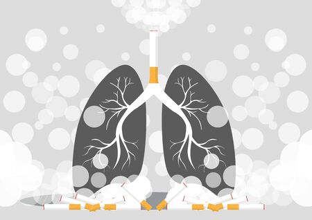 Lungs illustration in a very professional and creative design, the design shows the smokers lung in dark color. vector, illustration.