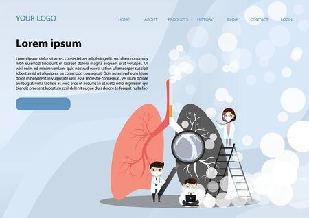 Miniature doctors study and treat large human lungs. Vector concept of medical pulmonological care one sided normal lung and the other side with the smokers lung in dark color. page, website, app, banner. vector, illustration.