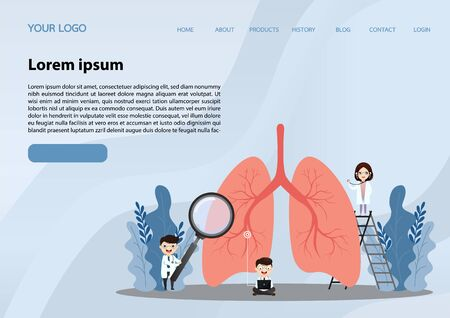 Miniature doctors study and treat large human lungs. Vector concept of medical pulmonological care.Lung cancer. website, app, banner.