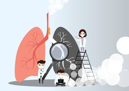 Miniature doctors study and treat large human lungs. Vector concept of medical pulmonological care one sided normal lung and the other side with the smokers lung in dark color.vector, illustration.