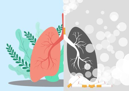 Lungs illustration in a very professional and creative design, the design shows one sided normal lung and the other side with the smokers lung in dark color.