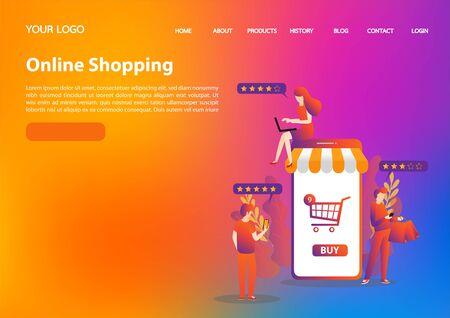 Happy shopper. Online shopping concept. Big Sale. Flat vector illustration.