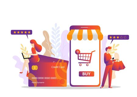 Modern Flat design people and Business concept for M-Commerce, easy to use and highly customizable.