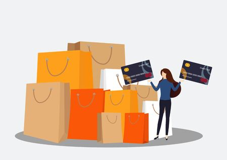 Woman holding a credit card. Woman making online payment with credit card. Vector, illustration Ilustração