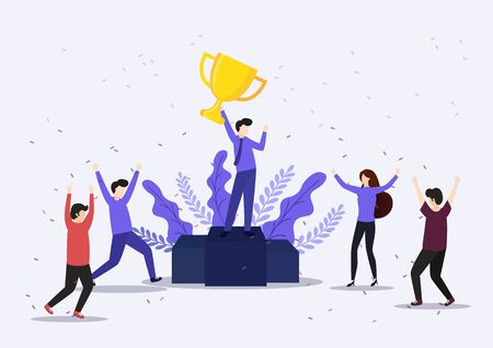 Vector illustration concept of group of business people character holding trophy and get reward standing on podium and celebrate. Character, vector, illustration