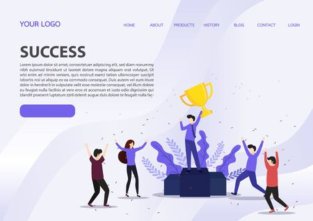 Vector illustration concept of group of business people character holding trophy and get reward standing on podium and celebrate, can use for landing page, web, presentation, flyer, banner. Character, vector, illustration