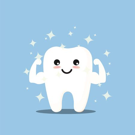 Vector cartoon whitening tooth muscle strain for show solidity tooth with shining effect and the happy face.Dental personage vector illustration. Illustration for children dentistry. Oral hygiene, teeth cleaning.