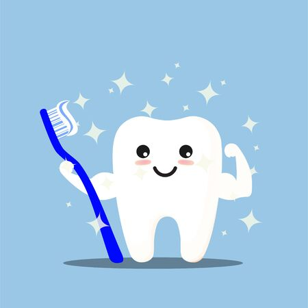Happy tooth icon. Cute tooth characters. To brush your teeth with toothpaste. Dental personage vector illustration. Illustration for children dentistry. Oral hygiene, teeth cleaning. Çizim