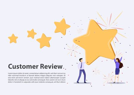 Customer review rating. Different People give review rating and feedback. Flat vector illustration. Customer choice. Know your client concept. Rank rating stars feedback. Business satisfaction support Vektoros illusztráció