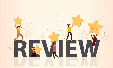 Customer review rating. Different People give review rating and feedback. Flat vector illustration. Customer choice. Know your client concept. Rank rating stars feedback. Business satisfaction support Stock Illustratie