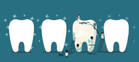 Group of small dentists are caring for a large tooth. Dental personage vector illustration. Illustration for children dentistry. Oral hygiene, teeth cleaning.