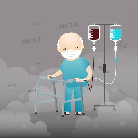 Old man cough with dirty lung because PM2.5 air poll. Old man wearing air pollution mask for protect dust PM2.5. smoke, smog, respiratory, environment, health, breath. Cartoon, Vector, illustration