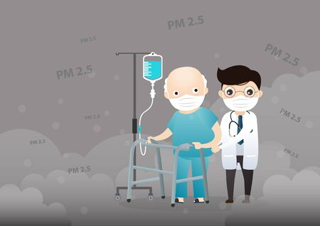 Old man and doctor cough with dirty lung because PM2.5 air poll. Old man and doctor wearing air pollution mask for protect dust PM2.5. smoke, smog, respiratory, environment, health, breath. Cartoon, Vector, illustration