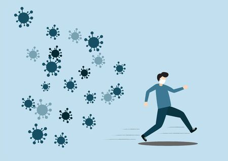 Concept of the threat of spreading coronavirus infection 2019-nCoV. Man running away from viruses and contagious diseases. Vector illustration. 向量圖像