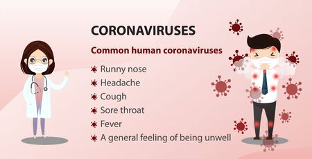 Concept of the threat of spreading coronavirus infection 2019-nCoV.  Doctor in a protective suit and mask shows coronavirus CoV. Vector, illustration.